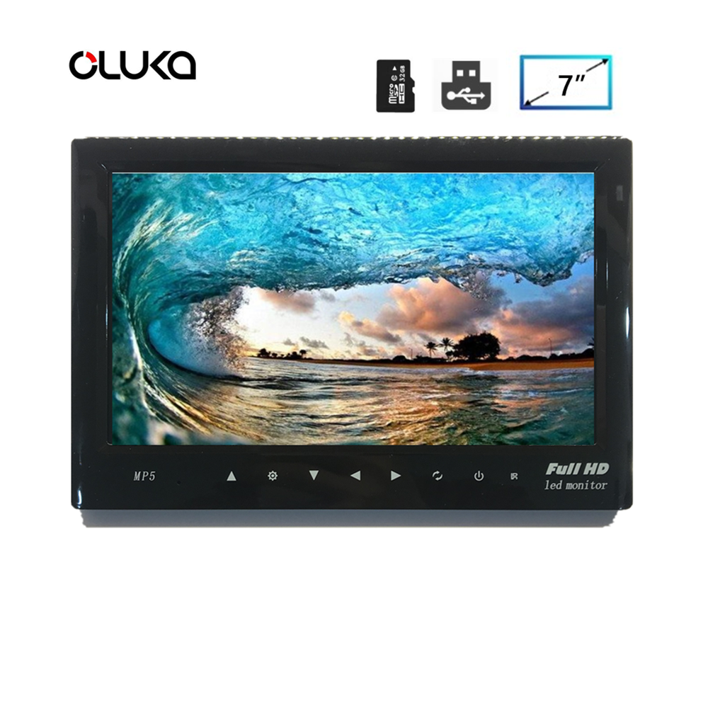 7 Inch Dash Board Rear View Parking Display Monitor with Video Input USB SD Card Port DC 12 to 24 Volt Power-off Memory Playback