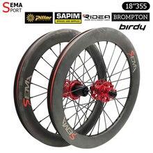 Karbon tekerlek disk fren SEMA brompton bisiklet parçaları 18 inç 355 karbon tekerlek Ridea hub kattığı jant 100/135mm birdy bisiklet