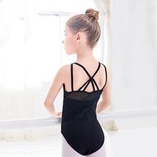 купить Children Kid Dance Ballet Leotards Spaghetti Straps Criss-cross Back Mesh Splice Sleeveless Girls Bodysuit Swimsuit For Dancing онлайн
