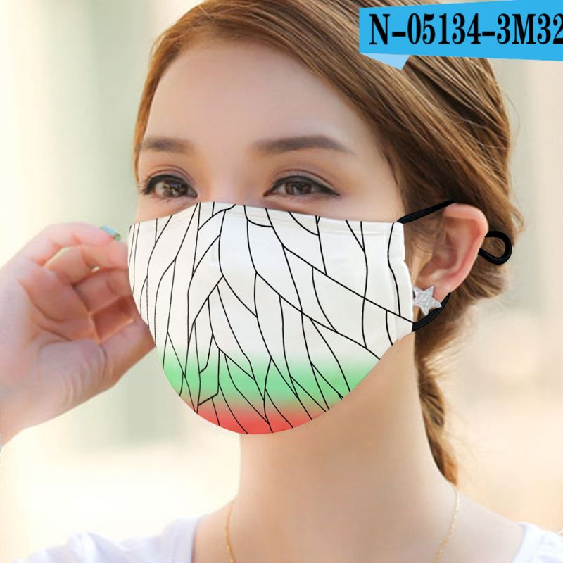 1pc Can Plug-in Filter Dust Mouth Mask Washable Reusable Various Patterns Unisex Cotton Mask For Adult Kids 22 Colors