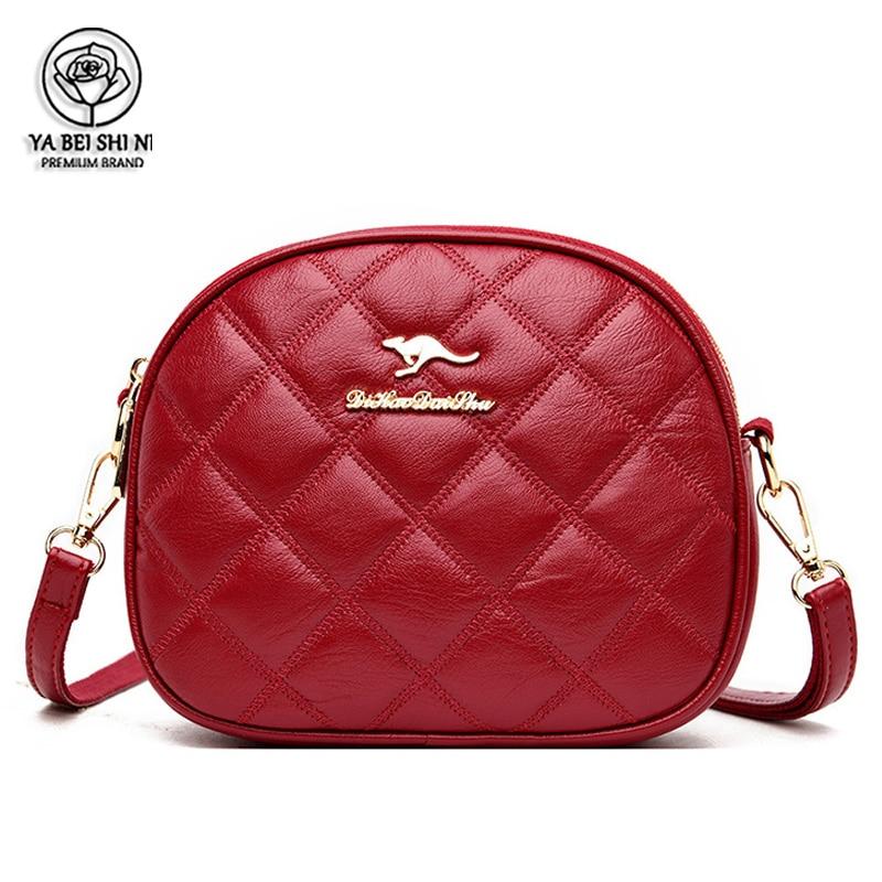 Women Bag Leather Shoulder Bags Lingge Crossbody Bags For Women High Quality Messenger Bag Sac Main Kangaroo Logo Women Bags