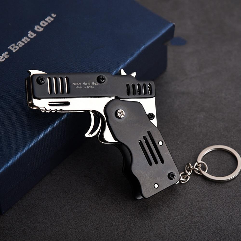 Metal Folding Rubber Band Gun Stainless Steel Launcher Hand Pistol Guns Six Bursts For Key Chain Shooting Toy Boys Birthday Gift