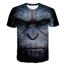 Camisetas de hombre 3D estampado Animal mono Camiseta de manga corta diseño divertido Casual Tops camisetas hombre Halloween camiseta 6xl(China)