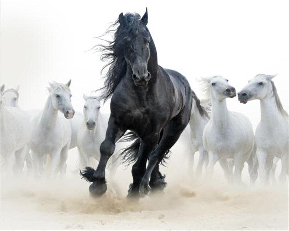 Image 4 - Custom 3d Mural Wallpaper European Style Eight Horse Figure TV Background Bound  Wall Painting WallpaperWallpapers   -