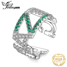 JewelryPalace AMAZING Nano Simulated Emerald Ring 925 Sterling Silver Rings for Women Party Stackable Jewelry