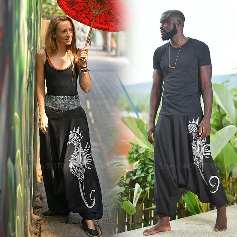 Men Women Print Casual Loose Harem Pants Thailand Indian Pakistan Totem Ethnic Bottoms Fashion Streetwear Hip-hop Bloomers