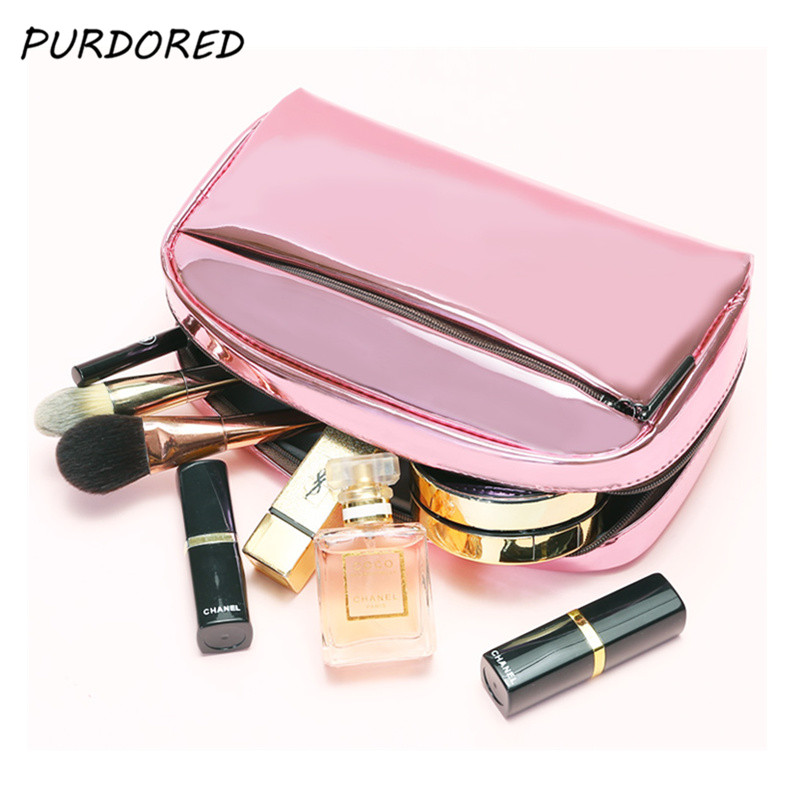 PURDORED 1 Pc Large Capacity Cosmetic Bag PU Leather Women Beauty Organizer Pouch Female Makeup Pouch Laser Women Cosmetic Case