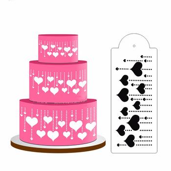 Nowe wiszące serce ciasto wzornik boczny na wierzch tortu wzornik dekoracji ciasto boczne dekorowanie wzornik kremówka Mold ciasto narzędzie dekoracyjne tanie i dobre opinie PlumHOME Deser dekoratorów CN (pochodzenie) Ciasto narzędzia Z tworzywa sztucznego Dessert Decorators