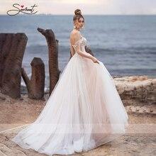 Роскошное Свадебное платье BAZIIINGAAA, пикантное свадебное платье без рукавов, с разрезом, открытой спиной, благородное, с кружевными бусинами, на заказ