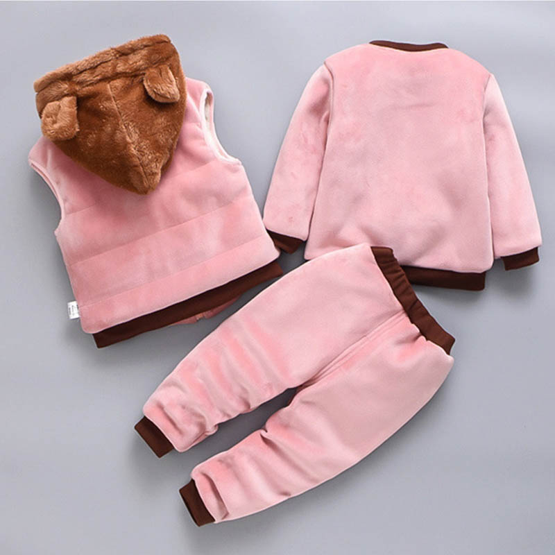 Baby Boys And Girls Clothing Set Tricken Fleece Children Hooded Outerwear Tops Pants 3PCS Outfits Kids Toddler Warm Costume Suit 3