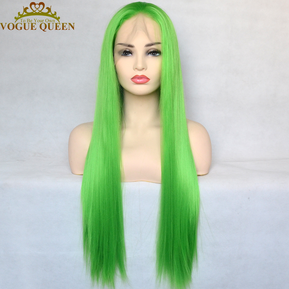 Vogue Queen Apple Green Synthetic Lace Front Wig Long Silky Straight Heat Resistant Fiber Natural Hairline For Women