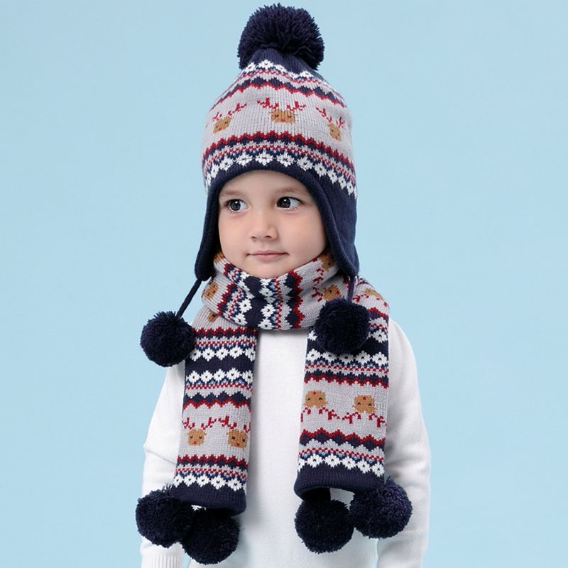 Kids Baby Winter Christmas Reindeer Pompom Earflap Beanie Cap Long Scarf Gloves High Quality And Brand New