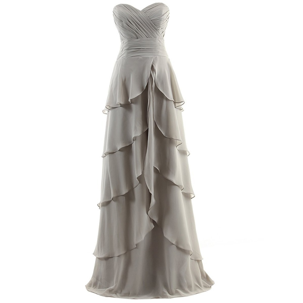 2015 New Design Sexy Sweetheart Chiffon Brides Floor-length Custom Elegant A-line Tiered Ruffles Long Bridesmaid Dresses