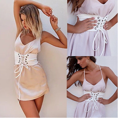 Women's Wide Cummerbunds Bandage High Waist Corset Belt Cincher Elastic Wide Band Tied Fashion Outwear For Women NEW Fashion
