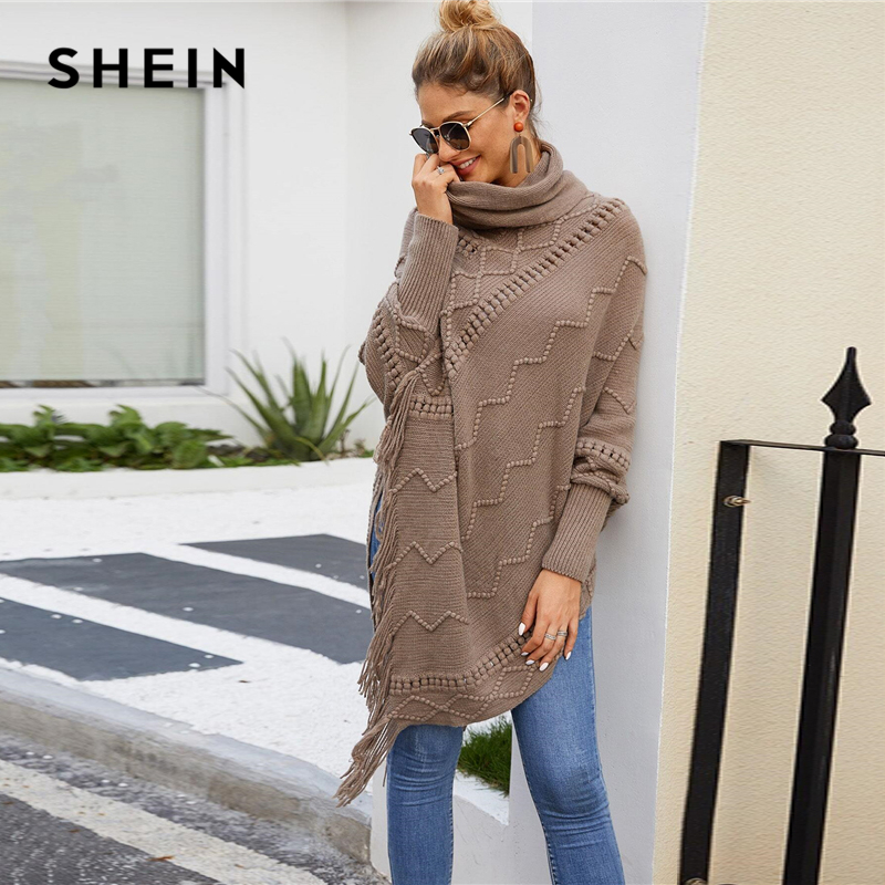 SHEIN High Neck Solid Fringe Hem Casual Poncho Sweater Women Tops Autumn Winter Streetwear Long Sleeve Ladies Longline Sweaters 2