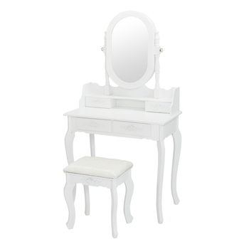 Dresser with Single Mirror Jewelry Cabinet 4 drawer Queen anne style legs White