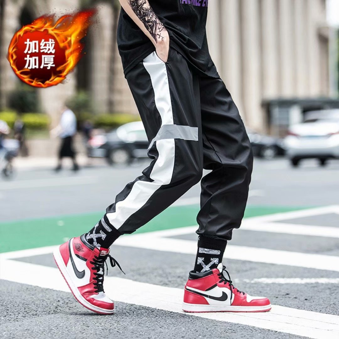 2018 Autumn & Winter New Hot Selling Men's Korean-style Trend Loose Casual Pants Hip Hop Reflective Ankle Banded Pants Plus Velv