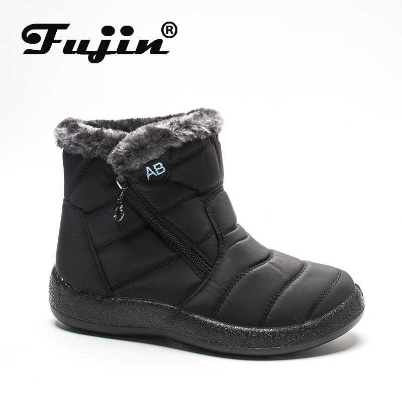 Fujin/женские зимние ботинки из водонепроницаемого вельвета и хлопка; теплые женские повседневные ботинки на молнии; зимние ботинки; большие размеры