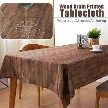 Mantel Mesa Rectangular Impermeable de madera, impresión de grano, Impermeable, para cocina, para el hogar, impresión de grano, 1 ud.