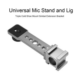 Image 2 - Triple Cold Shoe Mounts Mic Light Extension Bracket for OSMO Mobile 3 2 Support Dropshipping