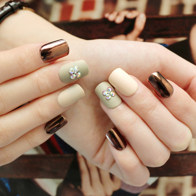 Wear Manicure Finished Product Patch 24 PCs Jelly Glue Manicure Stickers Metal Matte Wear Manicure Patch Fake Nails