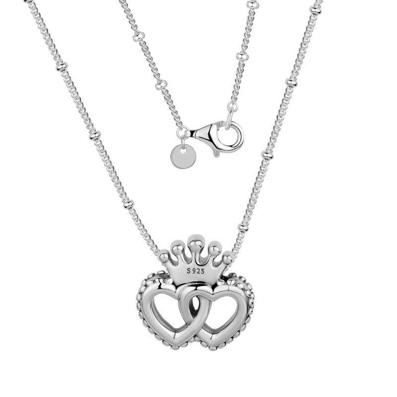 United Regal Hearts Pendant Choker Necklaces for Women Crown Shape Girls Chain Fine 925 Sterling Silver Women Necklaces Jewelry