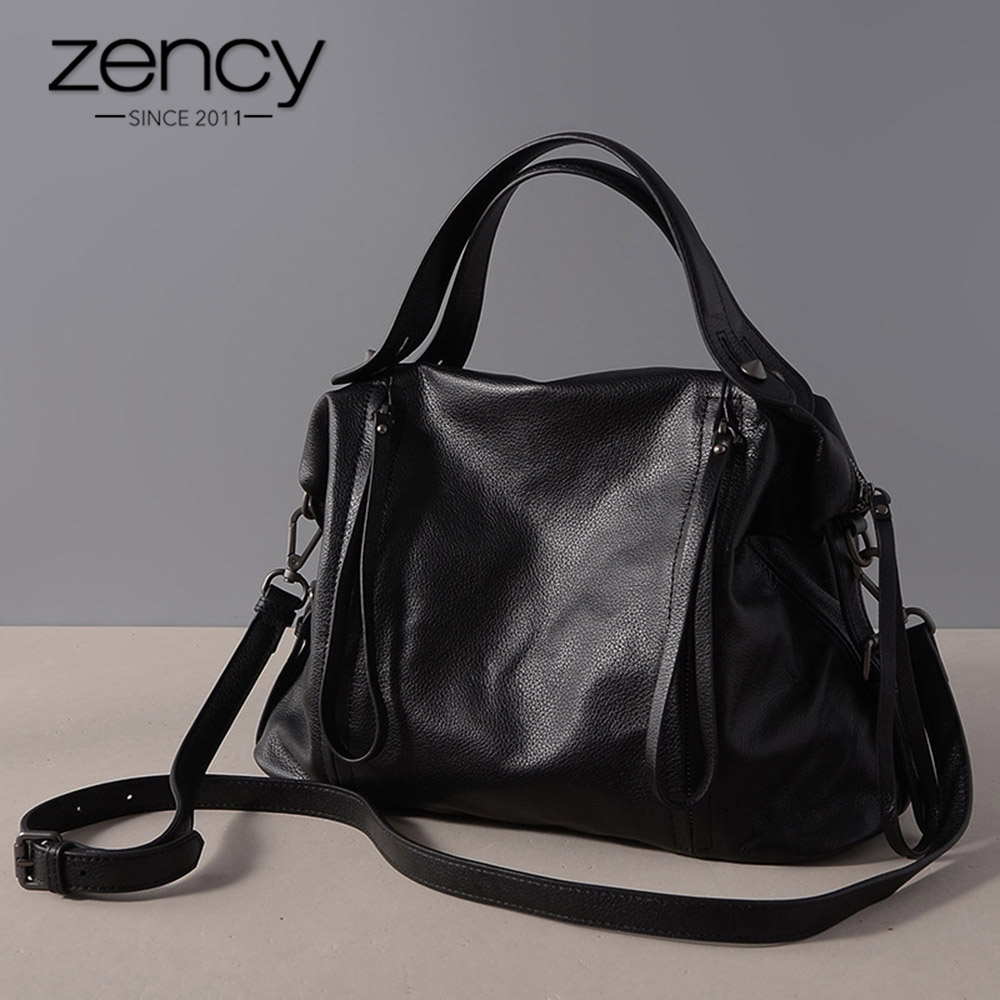 Zency Vintage Women Handbag  Genuine Leather Classic Black Casual Tote Office Lady Shoulder Tote Messenger Bag Large Capacity