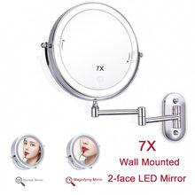 Make-up Spiegel mit Licht Make-Up 7X Vergrößerungs Spiegel 2-gesicht Touch Dimmen Led-leuchten Wand Montieren Bad machen up Vanity Spiegel