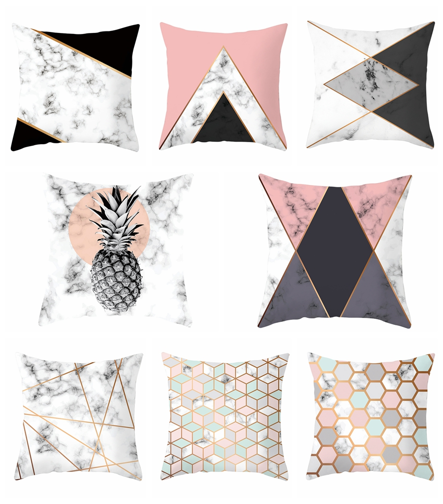 1 Piece White Black Pink Pillowcase Marble Design Pillow Covers Living Room Decoration Cushion Cover 45x45cm Size