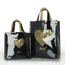 ファッションpvc再利用可能なショッピングバッグの女性のバッグ環境にやさしいロンドンショッパーバッグ大容量防水ハンドバッグショルダーバッグ