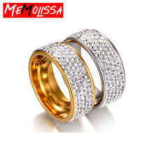 5 Row Lines Clear Crystal Wedding Rings For Women Fashion Rhinestone Stainless Steel Female Teen Engagement Finger Jewelry