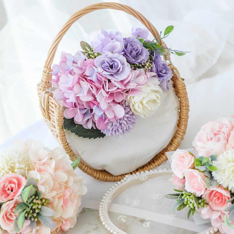 New Rose Hydrangea Artificial Flower Hybrid Bouquet Silk Flower for Home Decoration Wedding Holding Bouquets Fake Flower