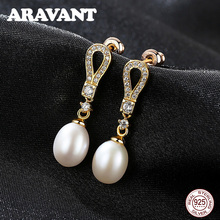 925 Sterling Silver Water Drop Earrings For Women Gold Pave Zircon Natural Pearl Earrings Wedding Jewelry Gifts недорого