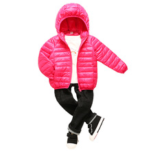 купить 2019 Kids Down Jacket Baby Boy Girl Autumn Winter Warm Hooded Outerwear Children Fashion Thin and Light Style Coat Clothes дешево