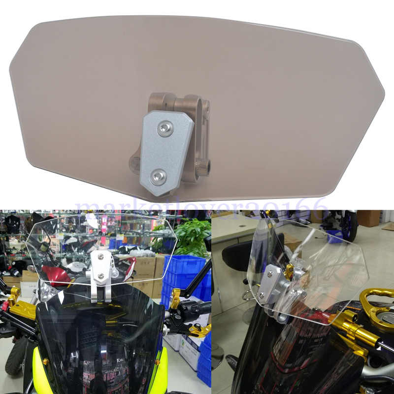 Universal 3 Colors Adjustable Clip-On Windshield Extension Air Wind Deflector For Motorcycle Allows Adjust To Height Inclination
