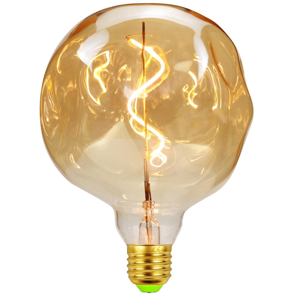 TIANFAN Led Bulbs Vintage Light Bulb Spiral Led Filemanent 4Watts Dimmable 220V Decorative Edison Bulb G125 Stone