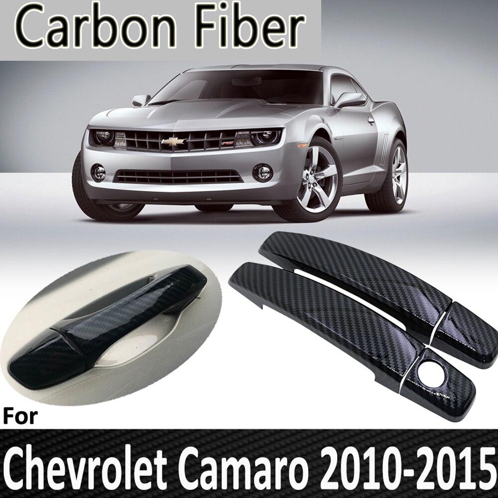 Черное углеродное волокно для Chevrolet Camaro 2010 2011 2012 2013 2014 2015 Крышка дверной ручки Наклейка украшения автомобильные аксессуары