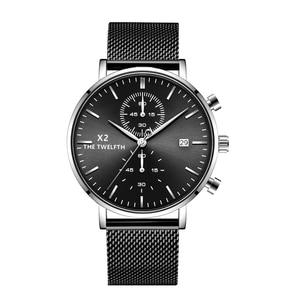 Image 3 - 2019 New Arrival Quartz Watches Men Genuine Leather Strap Chronograph Calendar Luxury Casual Vintage Watch X2 066G