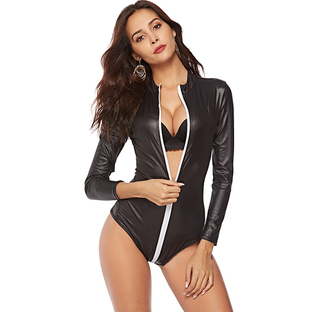 Bodysuit Women Plus Size Sexy Clothes Pu Skinny Zipper Jumpsuit Turn Down Collar Long Sleeve Overalls Jumpsuit Body Femme Sexi