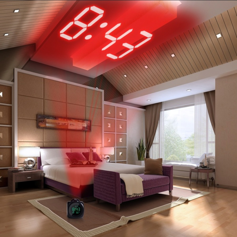 Alarm Clock Night Light With Projector Lamp Voice Temperature Digital Timer Projection On Wall Ceiling For Home Table Decoration