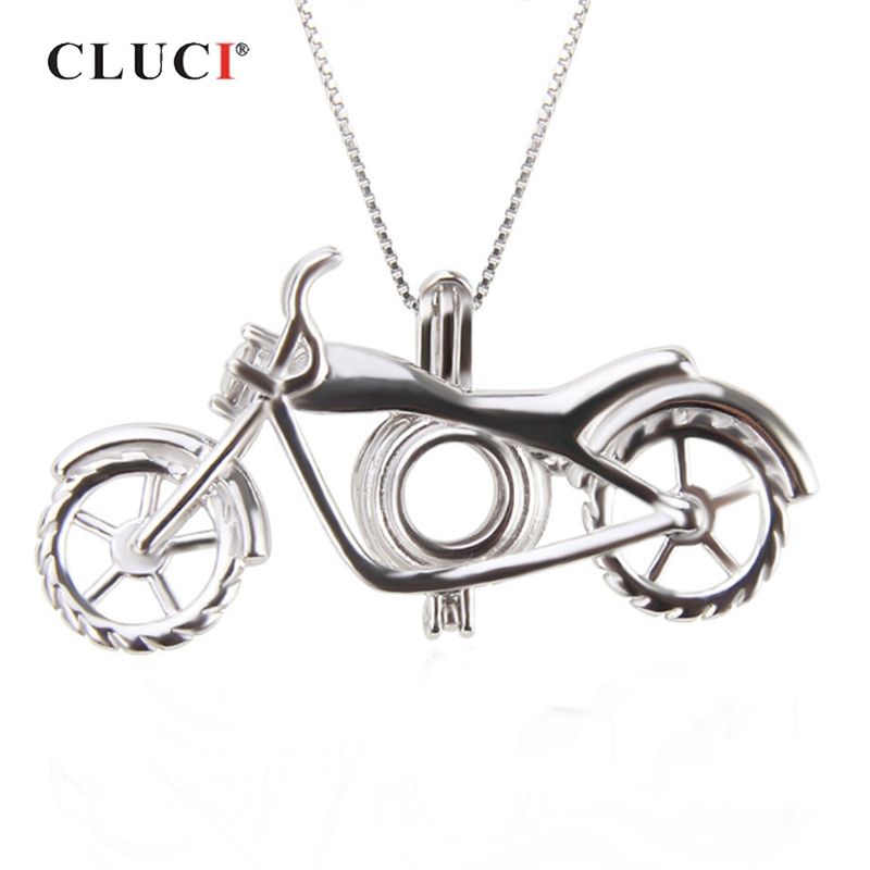 CLUCI 925 Sterling Silver Fashion Motorcycle Shaped Charms Pendant Women Necklace Jewelry Accessory Silver 925 Pearl Locket
