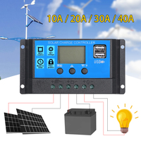 10A 20A 30A 40A 5V 18V Auto Solar Cells Panel Battery Charge Controller PWM Solar PV Regulators LCD Display with 2 USB Ports