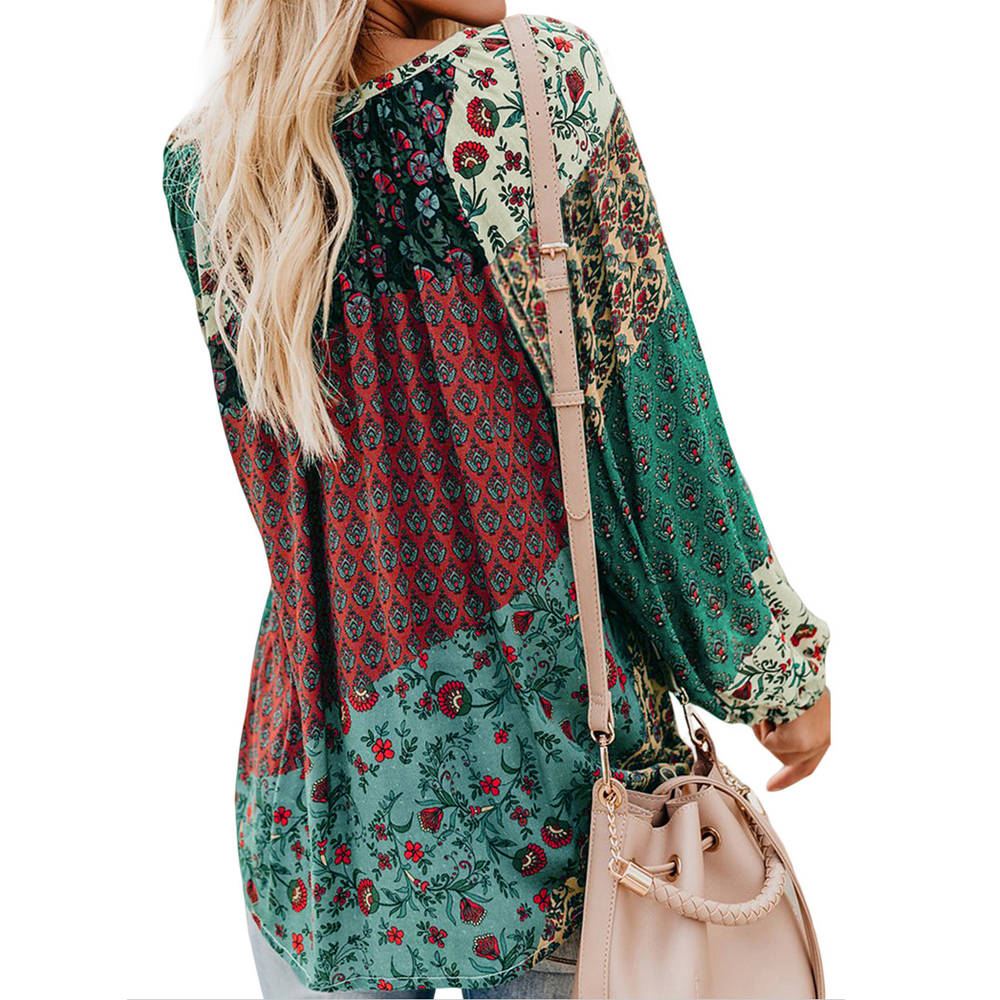 2019 New Womens Tops And   Blouses   Fashion Long Sleeve Vintage Floral   Shirts     Blouses   Autumn Casual Loose V-neck   Shirt   Chemise Tops