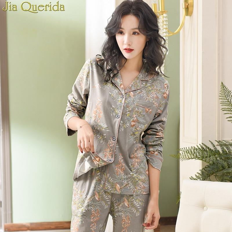 Pajamas For Women 2019 New 100% Pure Cotton Women Home Suit XXXL Grey Floral Lapel Cardigan Top+Long Bottoms 2 Pcs Women Pajamas