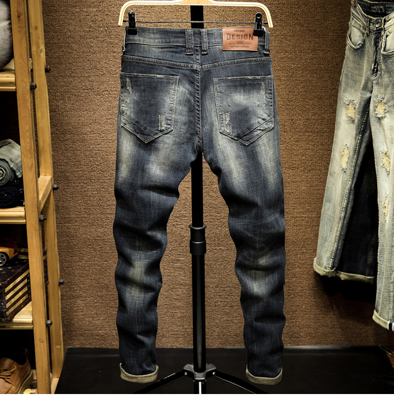 KSTUN Punk Jeans Men Slim Fit Stretchy High Street Wear Retro Blue Casual Denim Jeans Pants Mens Biker Jeans Vintage Spring and Autumn 12