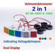 Piazza nuova 2in1 LED Digitale A Doppio Display Voltmetro Amperometro Calibro di Tensione Corrente Meter di Misura AC 60-500V 0-100A 22 millimetri