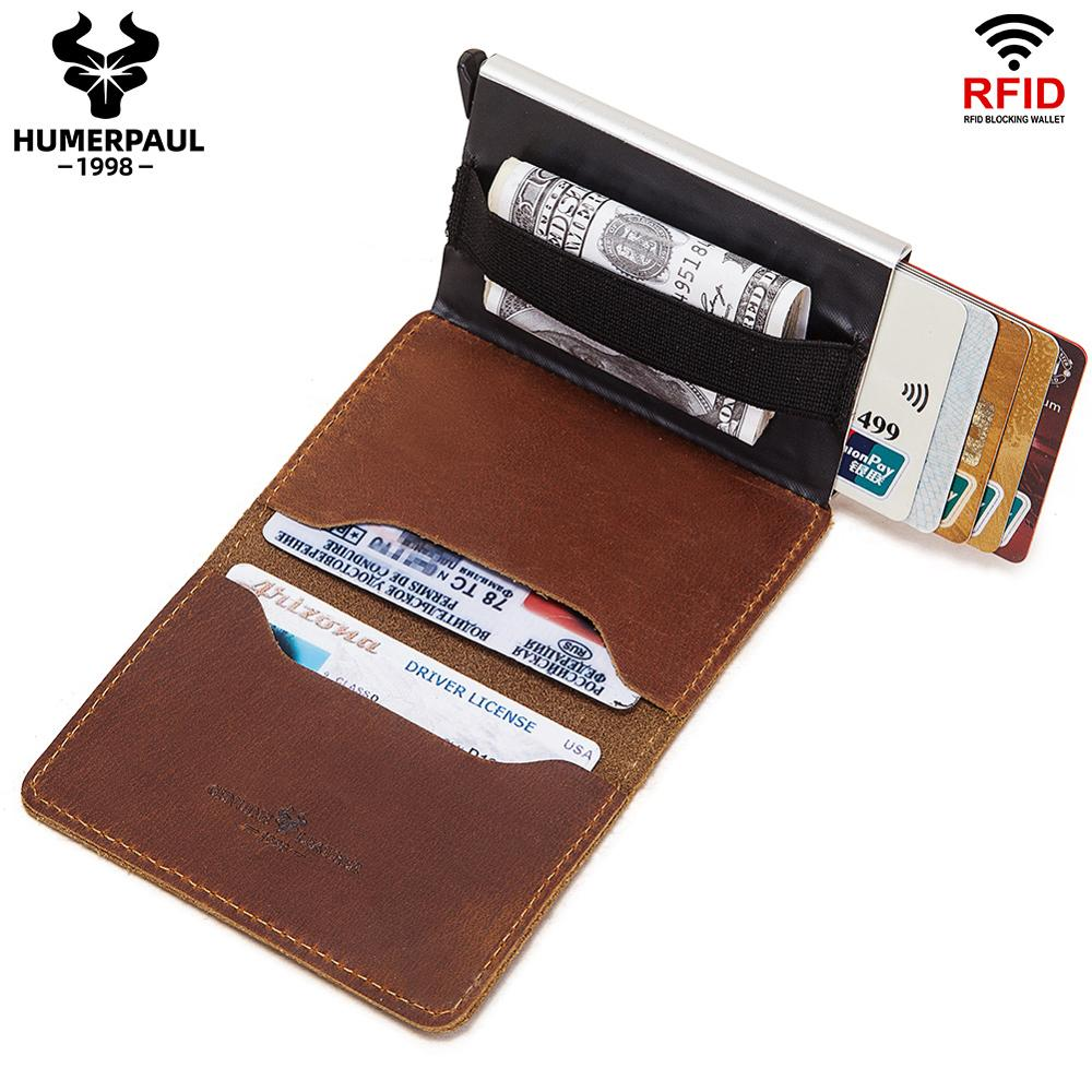HUMERPAUL Rfid Card Holder Men Wallets Money Bag Male Vintage Black Short Purse 2020 Small Leather Slim Card Holder Wallets