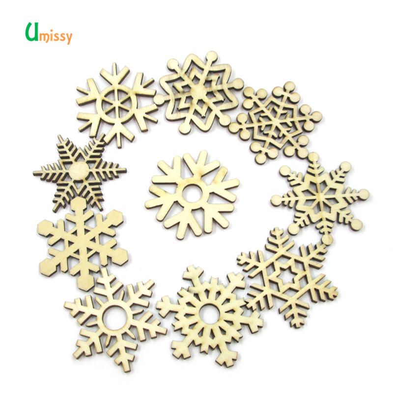 10pcs Snowflake <font><b>Button</b></font> Mixed Shape Manualidades Craft Wood <font><b>Button</b></font> Christmas Supplies <font><b>50mm</b></font> image