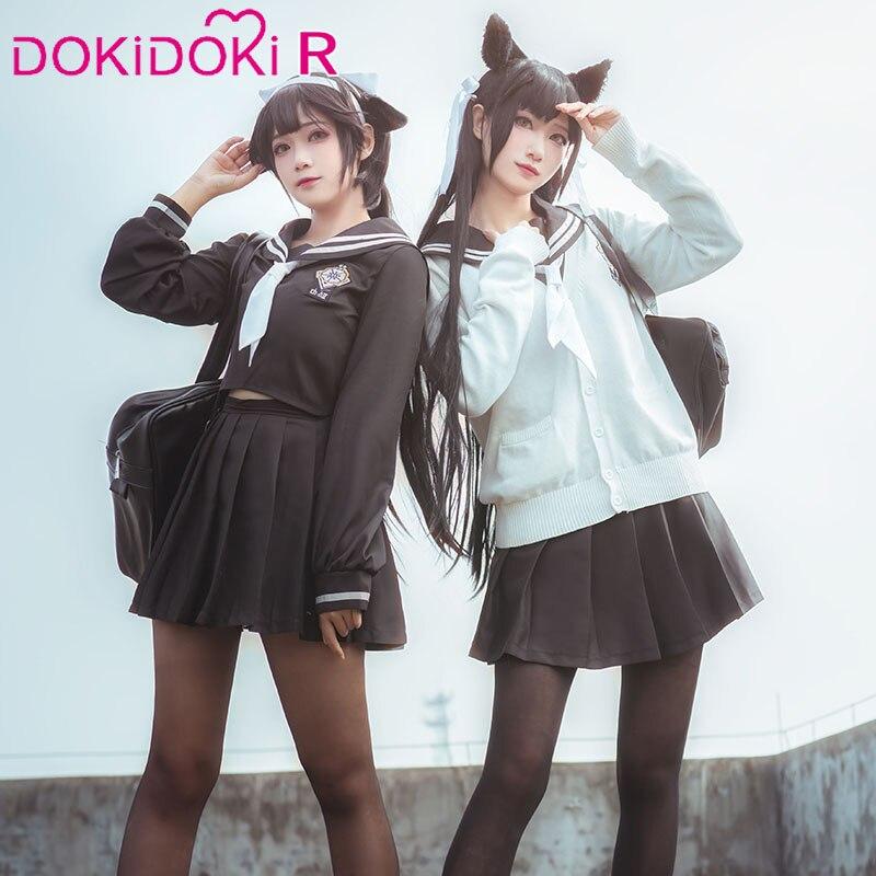 DokiDoki Game Azur Lane Cosplay IJN Takao JK Costume Women Halloween Azur Lane Cosplay Costume IJN Atago JK Uniform