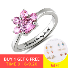 XiaoJing 925 sterling silver custom Dog paw print birthstone ring personalized engraving DIY ring Women gift free shipping 2019 xiaojing 925 sterling silver personalized family tree ring with birthstone women fashion ring mother s day gift free shipping